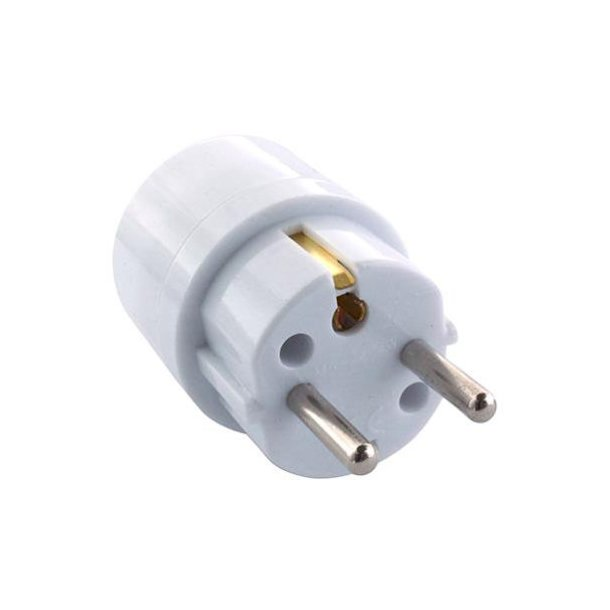 Hybrid plug adapter from Schuko to DK earth